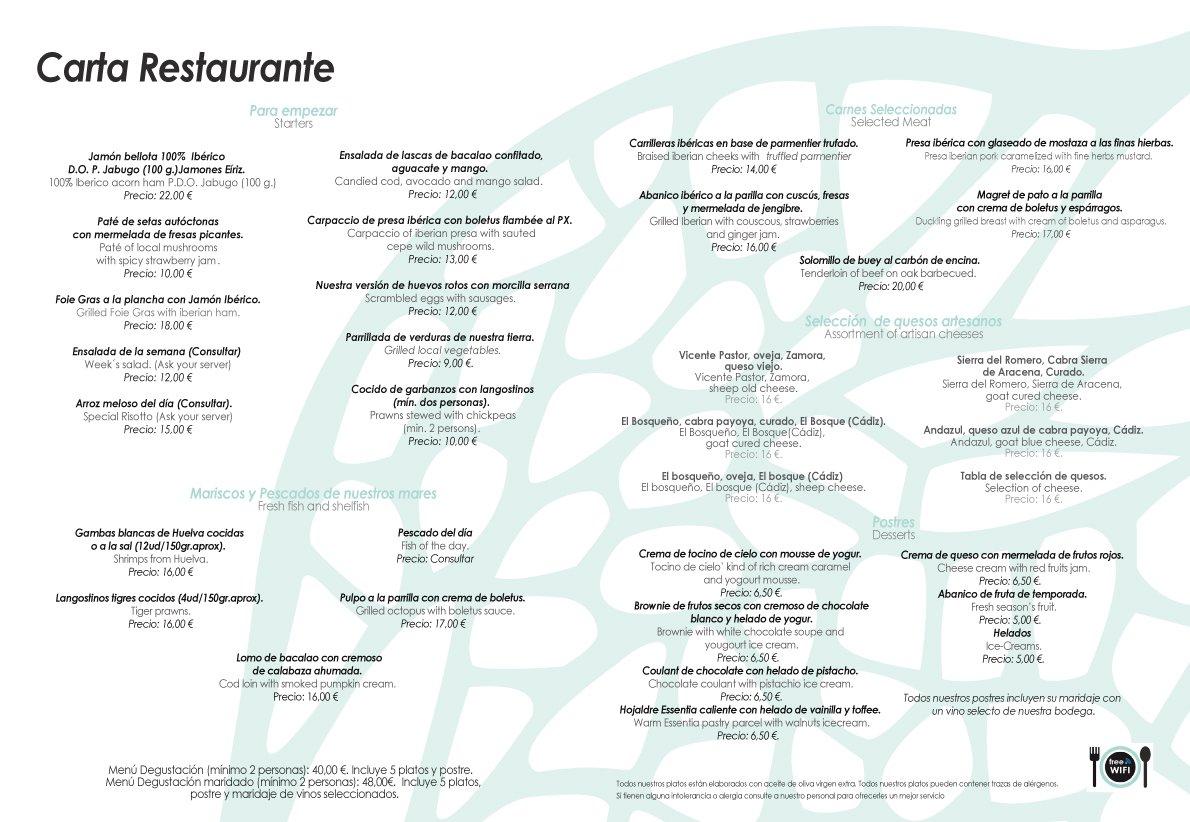 Nuestra Carta - Restaurante Essentia en Aracena.